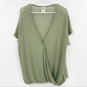 We The Free Free People Olive Green Faux Wrap Top